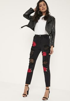 Embroidered Rose Ripped Mom Jeans   MissGuided