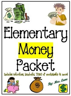 Elementary Money Packet (SUPER JAM-PACKED!) from Mrs Lane on TeachersNotebook.com -  - This packet contains TONS of fabulous items to teach money to elementary students, from activities and games, printable worksheets, handouts, posters, and more! These wonderful resources will improve your teaching skills by helping you understand how the