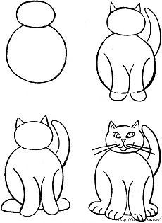 Уроки рисования - кошка.