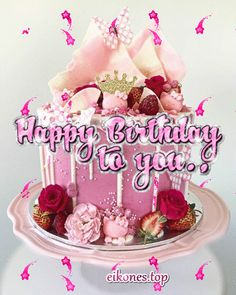 Happy Birthday GIFs - eikones top Happy Birthday Beautiful Sister, Happy Birthday Flowers Wishes, Happy Birthday Quotes, Happy Birthday Images, Birthday Wishes, Birthday Gifs, Birthday Cake, My Favorite Color, My Favorite Things