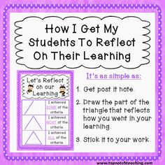 Teaching Self-Reflection - Sticky Note Style - Teach Junkie Student Self Assessment, Assessment For Learning, Formative Assessment, Learning Goals, Learning Objectives, Teaching Strategies, Teaching Tips, Siop Strategies, Teaching Methodology