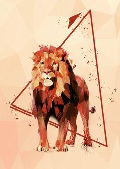 Triangle Animals poster prints by Tomasz Dąbek Geometric Artists, Geometric Lion, World Lion Day, Lion Poster, Beautiful Lion, Lion Painting, Polygon Art, Lion Design, Animal Posters