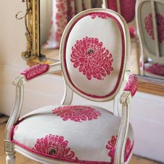 Such a feminine fabric and chair-large hot pink flowers