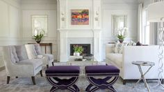 Purple and white sitting room with silver accents. Friday's Favourites, Gallerie B