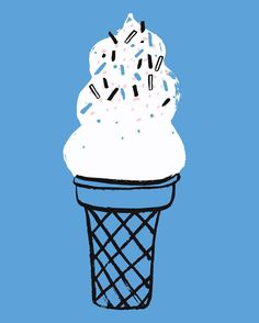 ice cream - Jordan Sondler  the cool blue back ground and sprinkles are emphasized in contrast to the subordinate black, white, cream, and grey tones