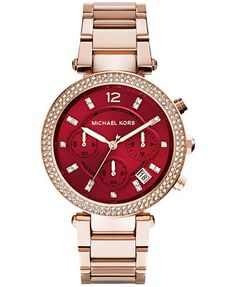 Michael Kors Women's Chronograph Parker Rose Gold-Tone Stainless Steel Bracelet Watch 39mm MK6106 - A Macy's Exclusive