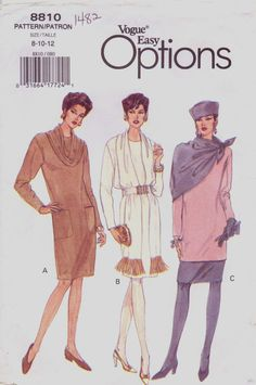 90s Vogue Easy Options Pattern 8810 Womens Dress by CloesCloset, $9.00