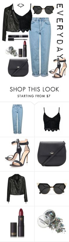 """""""Everyday"""" by saraprifti on Polyvore featuring Topshop, Gianvito Rossi, Kate Spade, Paige Denim, Fendi, Christian Dior and Lipstick Queen"""