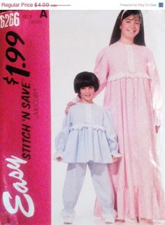 50% OFF SALE 90s McCalls 6266 Children's by SewYesterdayPatterns (Craft Supplies & Tools, Patterns & Tutorials, Sewing & Needlecraft, Sewing, commercial, sewing pattern, mccalls pattern, craft supplies, childrens pattern, vintage pattern, sewing supplies, 1990s pattern, childrens nightgown, pajamas pattern, girls nightgown, size XS S small, mccalls 6266)