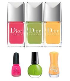 #Dior #dupes #nailpolishes  DIOR n.658 Pastèque dupe: China Glaze Pool Party ----------------------------------------------------- DIOR n.602 Lime dupe: Catrice (n.810 Acid) & Sephora (Lime Cocktail) DIOR -n.438 Mango dupe: Essence Little Miss Sunrise;