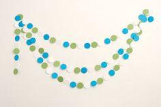 Circle Paper Garland  12ft Blue and Green by PassTheScissorsShop, $14.00