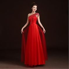 Prom / Formal Evening Dress A-line One Shoulder Floor-length Lace / Satin / Tulle with Appliques / Beading / Sash / Ribbon – GBP £ 40.99