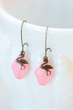 Pink Flamingo Earrings, Dangle, Vintage Lucite