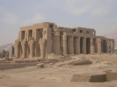 The Ramesseum is the memorial temple of Pharaoh Ramesses II. It is located in the Theban necropolis in Upper Egypt, across the River Nile from the modern city of Luxor.