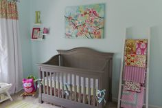 Aqua, Pink and Green Nursery - love the colorful mix of patterns!