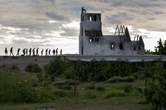 A re-enactment of a scene from an Ingmar Bergman film on nearby Faro. (Photo: James Silverman for The New York Times)