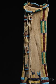 Cheyenne Beaded and Quilled Hide Pipe Bag, c.1870. Back side.