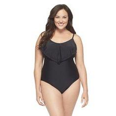 Women's Plus Size One Piece Swimsuit Black 18W-Ava & Viv