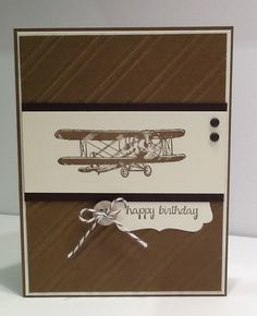 Masculine Birthday Card - Happy Birthday Card - Guys Bday Card - Card with Airplane - Stampin Up Card