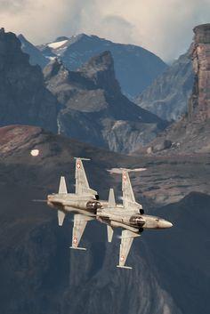 Swiss Air Force (Schweizer Luftwaffe) flight demonstration at Axalp-Ebenfluh in the Swiss Alps.