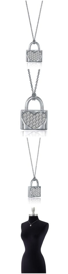 Sterling Silver CZ Lock Fashion Necklace