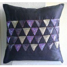 Diseñador Púrpura El Tiro Cubiertas Del Amortiguador, Triángulo De Lentejuelas Cubierta Cojines Cuadrado 45x45 cm Seda - Violet Triangles