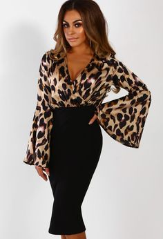 f701d3e80 Wild Woman Black Leopard Print Flare Sleeve Wrap Midi Dress   Pink Boutique  Pink Leopard Print. Pink Boutique UK