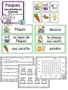 $  Joyeuse Pâques!  Easter themed literacy activities in French!  Includes 18 word wall cards and a variety of games and printables!