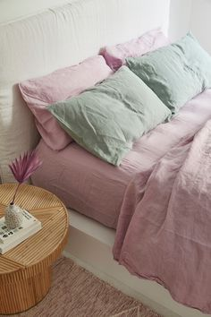 Lilac French Linen - Dreamy hues of purple, lilac french linen bedding. - Lilac French Linen – Dreamy hues of purple, lilac french linen bedding. Bedroom Storage Ideas For Clothes, Bedroom Storage For Small Rooms, Bedroom Shelves, Home Bedroom, Bedroom Decor, Lilac Bedroom, Bedroom Signs, Entryway Decor, Bedroom Ideas