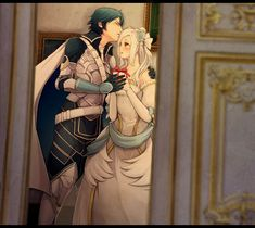 Fire Emblem: Awakening - Chrom x Robin...How cute!! I didn't actually marry Chrom (I married Gaius) but my sister did and this pic is adorable!