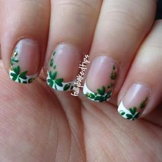 How to four leaf clover mani leaf clover manicure and leaves simple and pretty four leaf clover nail art design in french tips simple white polish framed by four leaf clover petals and some gold glitter prinsesfo Gallery