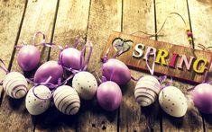 Indir duvar kağıdı Mor Paskalya yumurtaları, bahar, ahşap, arka plan, Paskalya, boyalı yumurta