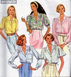 Simplicity 9857, Misses Button Front Blouse with Sleeve Variations, Notched Collar, Front and Back Pleated Yoke, Misses Size 10 to 18, Uncut by OnceUponAnHeirloom on Etsy