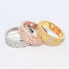 Pave Crystal Love Rings