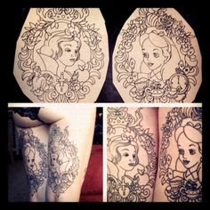 disney princess tattooed legs! I already have Disney tattoos on my thighs but if I had 2 sets of thighs