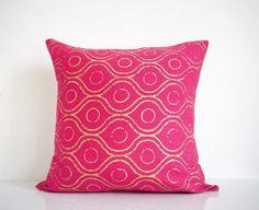 Pink throw pillow - metallic gold print on pink denim, bohemian pillow, hot pink pillow, organic cotton