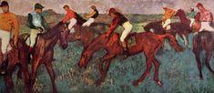 Vor dem Start (Jockeys beim Training), 1883-90. Oil on canvas, 39 x 89 cm.Sammlung M. Goudchaux, Paris.