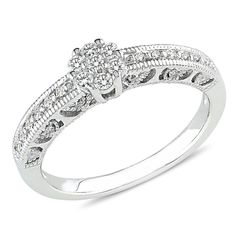 Sterling Silver Diamond Engagement Ring Cttw, G-H Color, Clarity) 3 Diamond Engagement Rings, Unusual Engagement Rings, Diamond Wedding Rings, Diamond Rings, Diamond Jewelry, Wedding Ring Pictures, Wedding Ideas, Sterling Silver Wedding Rings, Beautiful Wedding Rings