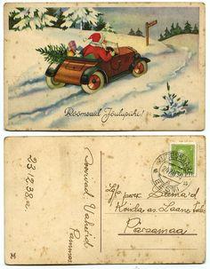 Santa / car /  vintage (1930s) Christmas postcard   Santa drives vintage car  Source: Andy's Postcards