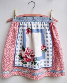 Half Apron made with vintage fabric -- 1930s small print florals & Wilendur napkin