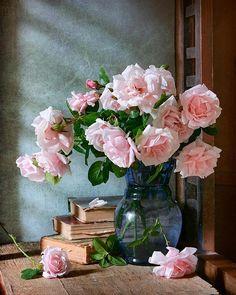 Instant Download of Garden Rose in Blue Vase Still #flowers #rose #bouquet #flowerarrangement #stilllife #photography