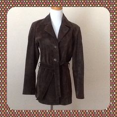 "New York & Co Genuine Suede Leather Jacket New York & Co Genuine Suede Leather Jacket.  Fully lined.  Measures 29 1/2"".  Front button closure with self belt.  In excellent condition, never worn, except for small superficial scrape on right top side.  Please see pics. New York & Co Jackets & Coats"
