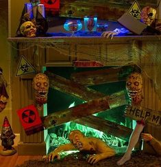 "Beware the zombie wasteland! Amp up your decor with a fallout mantel. Mix zombie props, eerie mood lighting & ""planks"" for boarding up exits! Halloween Fireplace, Halloween House, Spooky Halloween, Halloween Party, Asylum Halloween, Halloween Goodies, Halloween 2017, Halloween Stuff, Halloween Ideas"