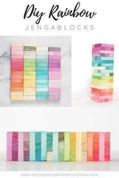 DIY Jenga Rainbow Blocks – The Sweeter Side of Mommyhood - Spielzeug