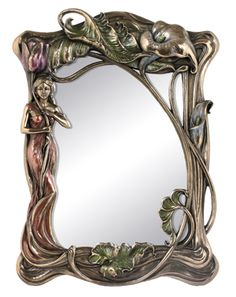 Image detail for -Lovely mirror with Art Nouveau lady and floral design.