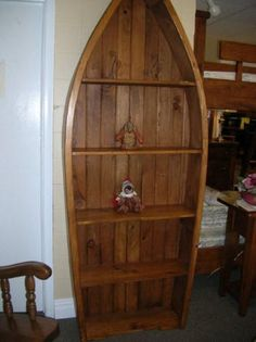 Boat bookcase, boat bookcase with shelves, boat shaped bookcase, boat shelf, Hart's Country Furniture Store Sutton Ontario.
