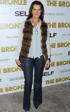 Fur goodness sake: Brooke Shields scored a rare fashion own goal with this bodywarmer at t...