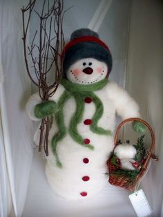Sidney Snow 15 Felted Wool Snowman NEW for by WhimsicalWoolies, $69.00