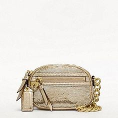 """$98 - coach.com  A petite jewel of a bag covered in tiny sparkling sequins, with a pretty wrist chain and an Iconic Heart charm for a zipper pull. Sequins with patent fabric trim Zip-top closure, fabric lining Outside zip pocket 5"""" (L) x 3 1/2"""" (H) x 1 1/4"""" (W)"""