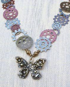 Steampunk Butterfly Necklace by EruvandiCrafts on Etsy